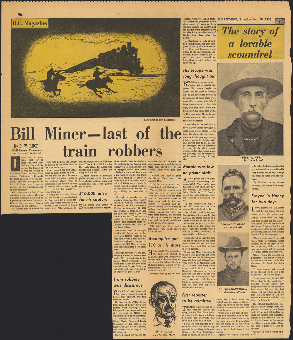Newspaper page showing text, an illustration of two armed men on horseback approaching a train, a portrait of the author, and photographs of Bill Miner, Shorty Dunn and Lewis Colquhoun.